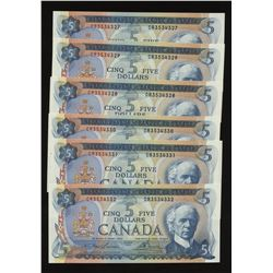 Bank of Canada $5, 1972 - Lot of 6 Consecutive Notes