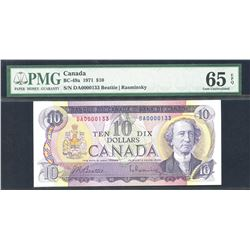 Bank of Canada $10, 1971 - Low Serial Number