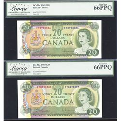 Bank of Canada $20, 1969 - Lot of 2 Consecutive Notes