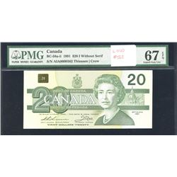 Bank of Canada $20, 1991 Low Serial Number without Serif