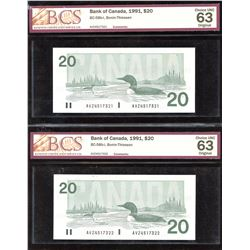 Bank of Canada $20, 1991 - Lot of 2 Consecutives