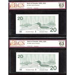 Bank of Canada $20, 1991 - Lot of 2 Consecutives