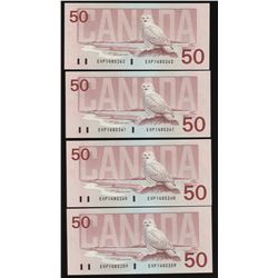 Bank of Canada $50, 1988 - Lot of 4 Consecutive Serial Numbers