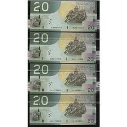 Bank of Canada $20, 2004 - Radar Set of 4 Consecutive Notes