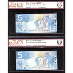 Bank of Canada $5, 2008 - 4 Cycle Repeater - Lot of 2