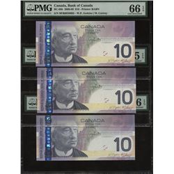 Bank of Canada $10, 2008-09 - 4 Cycle Repeater - Lot of 3