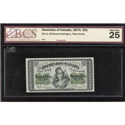 Dominion of Canada Twenty-Five Cents, 1870