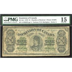 Dominion of Canada $1, 1878 - Payable at Montreal