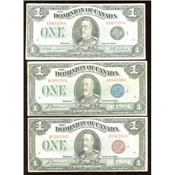 Dominion of Canada $1, 1923 - Lot of 3