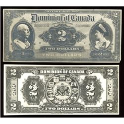 The Dominion of Canada $2, 1913, type as DC-22, Face and Back Photographic Model