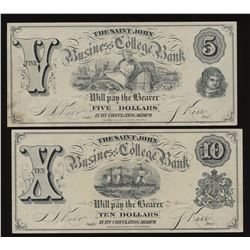 New Brunswick Scrip - Lot of 2 Business College Banknotes