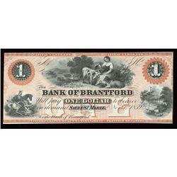 Bank of Brantford $1, 1859 Remainder