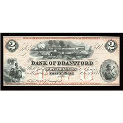 Bank of Brantford $2, 1859 Remainder