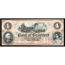 Bank of Brantford $4, 1859 Remainder
