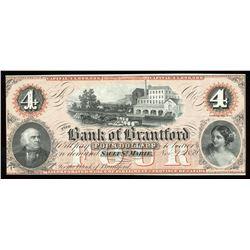 Bank of Brantford $4, 1859 Remainder