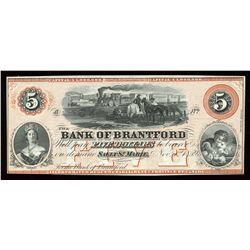 Bank of Brantford $5, 1859 Remainder