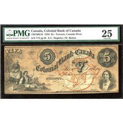Colonial Bank of Canada $5, 1859