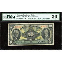 Dominion Bank $10, 1938 - Radar
