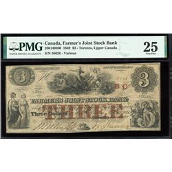 Farmer's Joint Stock Bank $3, 1849 with BC Stamped in red