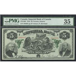 Imperial Bank of Canada $5, 1916