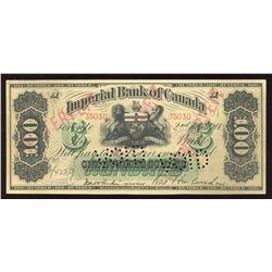 Imperial Bank of Canada $100, 1917