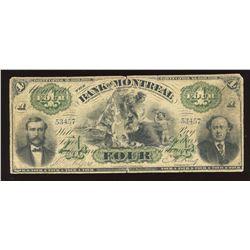 Bank of Montreal $4, 1871