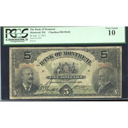 Bank of Montreal $5, 1911