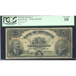 Bank of Montreal $5, 1911