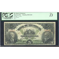 Bank of Montreal $5, 1912