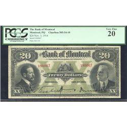 Bank of Montreal $20, 1914