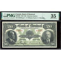 Bank of Montreal $20, 1923