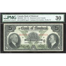 "Bank of Montreal $5, 1931 prefix ""S"" Test Note"