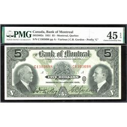 "Bank of Montreal $5, 1931 ""C"" Test Note"