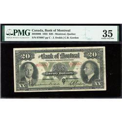 Bank of Montreal $20, 1935