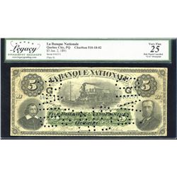 La Banque Nationale $5, 1891 - Scarce G Overprint in Black
