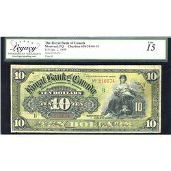 Royal Bank of Canada $10, 1909