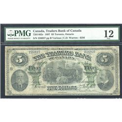 Traders Bank of Canada $5, 1897