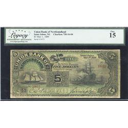 Union Bank of Newfoundland $5, 1889