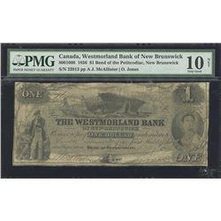 Westmorland Bank of New Brunswick 1856, $1