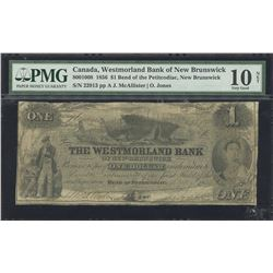Westmorland Bank of New Brunswick 1856, $1