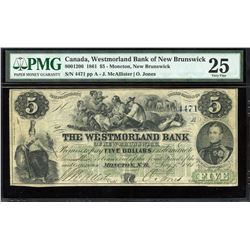 Westmorland Bank of New Brunswick 1861, $5