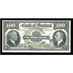 Bank of Montreal $100, 1931