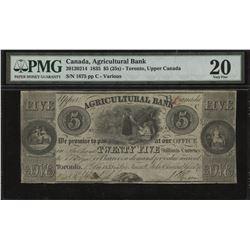 Agricultural Bank $5, 1835