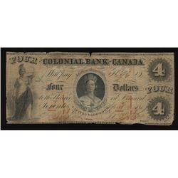 Colonial Bank of Canada $4, 1859