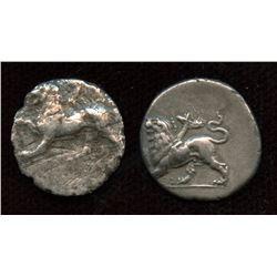SIKYONIA, Sikyon. ca. 330/20-280 BC. AR Triobol – Hemidrachm. Lot of 2