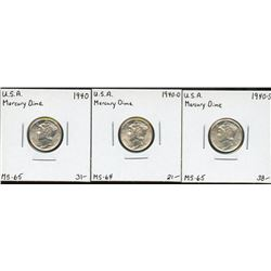 USA 1940 Mercury Dime, PDS Set. Lot of 3