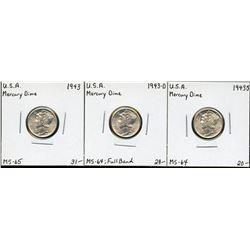 USA 1943 Mercury Dime, PDS Set. Lot of 3