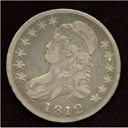 US Capped Bust 50c, 1812, F+ grade,