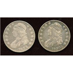 1824 & 1830 USA Half Dollars
