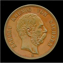 1889 German States, Saxony-Albertine 5 Mark